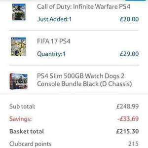 PS4 Slim 500 GB with 3 games £215.30 @ Tesco direct