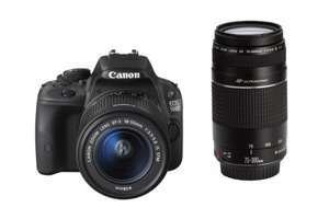 Canon 100D 18Mp Camera with Twin Lens Kit 18-55mm STM & 75-300mm £319.99 with Canon cashback @ Very
