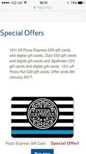 Tesco have 15% off pizza express giftcards