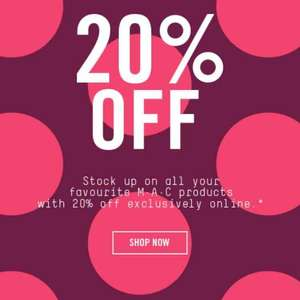 MAC Cosmetics 20% off EVERYTHING AFTER SIGNING INTO CHECKOUT & FREE HOME DELIVERY - Lipsticks for £12.40