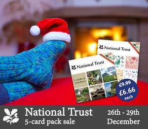 National Trust 5-card packs (and tea vouchers) REDUCED!  £6.66 and FREE Delivery over £10.