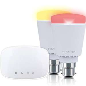 WiFi Home Lighting Kit - 2 Smart Wifi Multi-Coloured Dimmable Hue LED Bulbs Smart Home Starter Kit (2 X Bayonet Fit B22 WiFi 9 Watt LED Bulbs, 1 Bridge) £34.99 Dispatched from and sold by Time2 Direct - Amazon