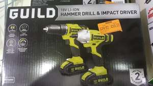 GUILD 18v hammer drill and impact driver at homebase now £55.23