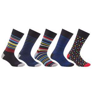 John Lewis Multi Design Socks, Pack of 5, Black/Multi size S £6 was £12 (£2 C&C)