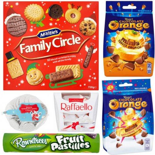 At Tesco Terrys Chocolate 50p, Raffaello 15 Pack £2, Fruit Pastel Tubes 50p, |||||| At Sainsburys White Chocolate Coins 37p, Mcvitie's Family Circle 720g £1.50