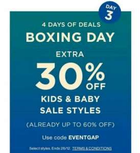 GAP Sale Upto 60% OFF + 30% Extra OFF Kids & Baby Sale Using code EVENTGAP (FREE C&C)