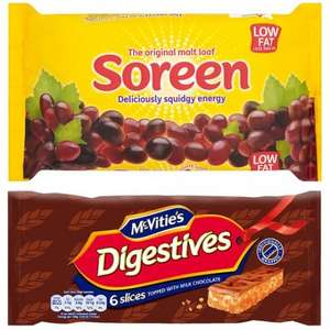 Soreen Loaf 260g 60p, Mcvitie's Slices 65p At Tesco