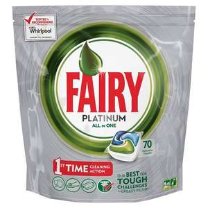 Fairy Platinum all-in-one Dishwasher tablets pack of 70 £6.64 with voucher & subscribe / save @ Amazon