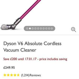 Dyson v6 Absolute Cordless £249.99 @ John Lewis