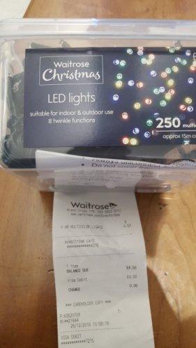 250 led multi colour christmas lights £4.50 instore @ Waitrose (Brent Cross) for £4.50