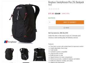 BERGHAUS TWENTY4SEVEN PLUS 25L BACKPACK £17.49 / £19.48 delivered @ Surfdome