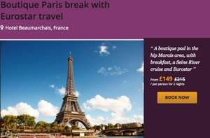 PARIS New year getaway £149 down from £215 2nights return eurostar,breakfast and Seine river cruise @ Holiday pirates