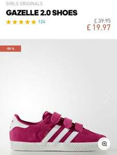Adidas girls gazelles sizes 11-2 half price £19.97 / £23.96 delivered @ Adidas