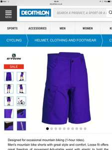 B'TWIN MTB mountain bike shorts size large & 2XL only now £3 @ decathlon (C&C to local store or local Asda £0)