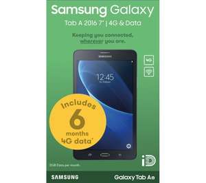 "SAMSUNG Galaxy Tab A 2016 7"" 4G Tablet with 6 Months Data Included - 8 GB, Black at PC World for £109.99"