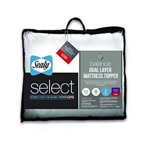 Sealy Select Balance Dual Layer Mattress Topper, White - King: Was £86.99 now only £30 @ Amazon
