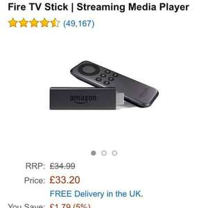 Fire TV Stick | Streaming Media Player at Amazon for £33.20