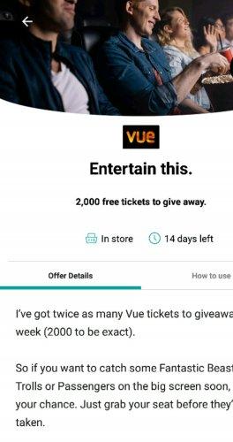 "2000 free tickets at Vue Cinema with Three ""3"" Wuntu app"