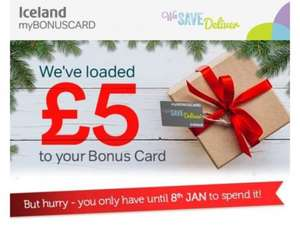 Free £5 added on selected Iceland Bonus card accounts. Check your emails