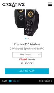 Creative T30 Wireless - 2.0 Wireless Speakers with NFC - Creative Labs (UK) £69.99