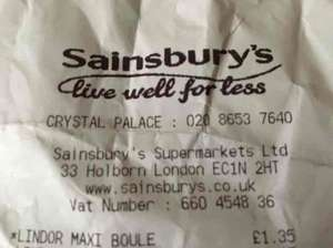 Lindt chocolate Maxi Boule 550g £1.35 at Sainsbury's instore