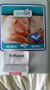 Sanaset Bedmats 30 pack mats 60 x 60 Iceland stores special price £1.99 @ iceland