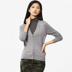 NOW OOS. Uniqlo Women's Extra Fine Merino V Neck Cardigan in Gray XS only £7.90 / £11.85 delivered