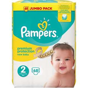 2 packs of Pampers New Baby Jumbo Pack Size 2 Nappies (68s) for £10 (total 136) @ Babies R Us