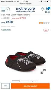 Star Wars darth Vader boys slippers - £2 @ mothercare (Free C&C)