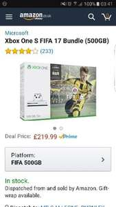 Amazon - Microsoft Xbox One S FIFA 17 Bundle (500GB) £219.99