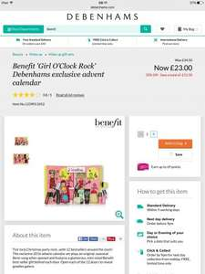 Benefit Advent Calendar reduced from £34.50 to £23 at Debenhams Online and Instore (worth £68)