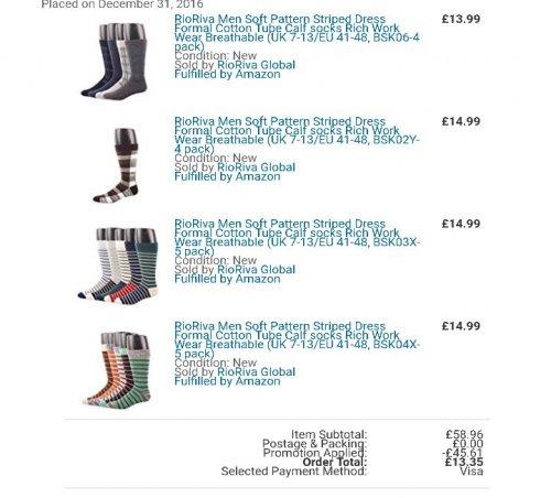 18 pairs of RioRiva soft socks RRP £58.96 Amazon Prime Lightning Deal