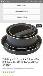 Tefal Ingenio Essential 5 Piece Pan Set. From the Official Argos Shop on ebay for £33