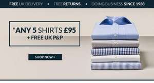 Any 5 shirts for £95 with free delivery (£19/shirt) @ The Savile Row Co