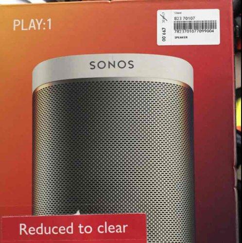 Sonos Play 1 brand new (open box) @ John Lewis Brent Cross - £90