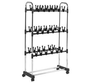 HOME 3 Shelf Rolling Shoe Storage Rack - Chrome down from £24.99 to £9.99 @ Argos