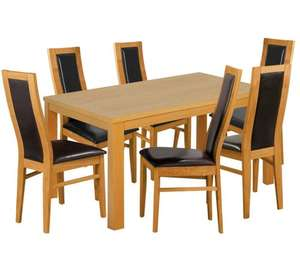 HOME Laverton Dining Table and 6 Chairs - Oak Veneer/Black down from £619.99 to £199.99 @ Argos