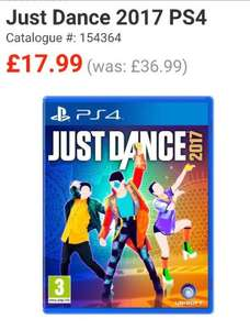 just Dance 2017 all platforms £17.99 was £36.99 @ Smyth's + free c&c