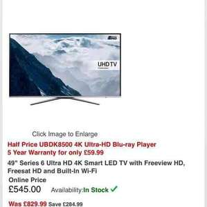 "BUY NOW PAY LATER for 12 Months Samsung 49"" Series 6 Ultra HD 4K Smart LED TV with Freeview HD, Freesat HD and Built-In Wi-Fi Online Price £545.00 + BUY NOW PAY LATER for 12 Months @ RGB direct"