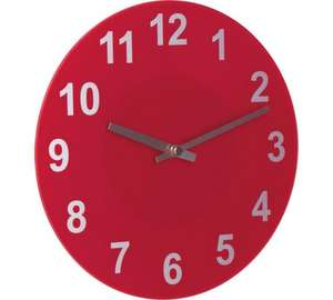 Glass Wall Clock in Poppy Red , 25% saving @ Argos now