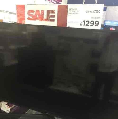 "Samsung UE70KU6000 70"" smart 4K ultra led tv £1299  currys pc world"