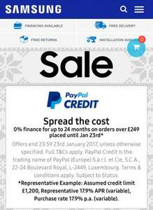 2 Years 0% finance available on all Samsung orders over £249 via PayPal credit. Available until 23rd January