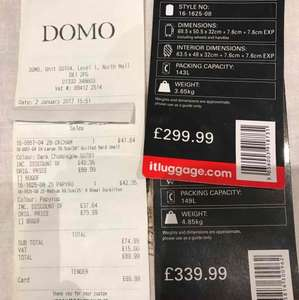 Buy 1 Get 1 Free IT Luggage Cases at Domo instore RRP £640 Paid £89.99