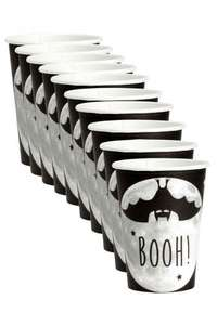 10-pack Halloween bat paper mugs for £0.59 down from £1.99 @ H&M (£0.53 + free delivery with code)