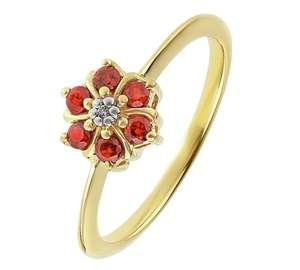 14ct Gold Plated Sterling Silver Garnet/White CZ Flower Ring £12.99 @ Argos (Free C&C)