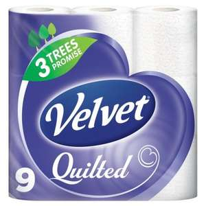 Velvet Quilted Pure White toilet Rolls x 9 £3 was £4.46 @ Morrisons