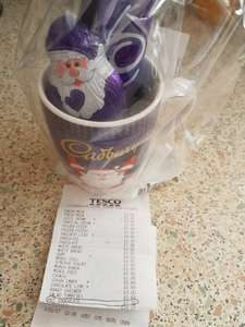 Tesco (instore) Cadbury's Ceramic Mug Set with Santa chocolate bar and 2 hot chocolate sachets 32p