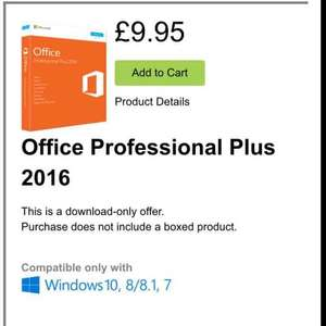 Microsoft Office Professional Plus 2016 for £9.95 @ Microsoft