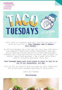 £1 for plate of Tacos @ Wahaca every Tuesday this January. Normal price £4.65