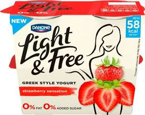Danone Light & Free Greek Style Yogurt - Strawberry (4 x 115g) was £2.50 now £1.00 (Rollback Deal) @ Asda